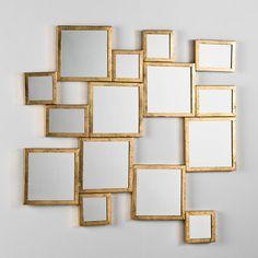 Espejo cuadrados metal dorado Soka