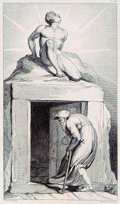 William Blake Death's Door engraved by Luigi Schiavonetti. William Blake, Vintage Wall Art, Vintage Walls, Fine Art Prints, Framed Prints, Canvas Prints, Juan Pablo Ll, A4 Poster, Poster Prints