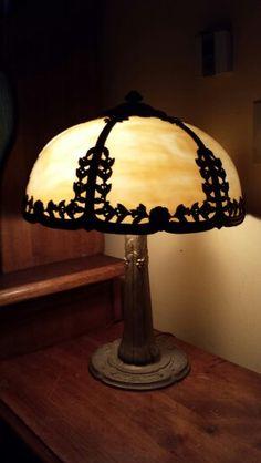 Beautiful signed Edward Miller Slag glass table lamp.