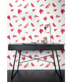 Bright, bold and reminiscent of summer, this watermelon wallpaper is synonymous with happiness, laughter and fun. Shop with Afterpay! Interior Wallpaper, Of Wallpaper, Designer Wallpaper, Wallpaper Ideas, Watermelon Wallpaper, Burke Decor, Sweet Memories, Traditional House, Furniture