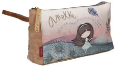 Anekke Kulturbeutel Liberty Drache Mädchen Original Design, Clutch, Art, Dopp Kit, Dragons, Artificial Leather, Embroidery, Voyage, Handbags