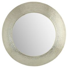 Showcasing a dimpled aluminum frame and round silhouette, this artful wall mirror brings elegant appeal to your entryway or master suite.  ...