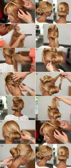 Ideas For Wedding Hairstyles Chignon Elegant Bun Wedding Hairstyles For Long Hair, Elegant Hairstyles, Wedding Hair And Makeup, Up Hairstyles, Pretty Hairstyles, Hair Makeup, Hair Wedding, Hairstyle Wedding, Natural Hair Styles