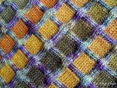 Scarf Checkered autumn pattern by Svetlana Gordon | malabrigo mechita in Lluvias and Seam Rainbow