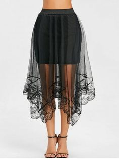 Asymmetric Lace Trimmed Tulle Skirt
