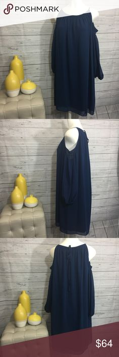 """Max Edition Large cold shoulder blue dress NWT Max Edition size large cold shoulder sapphire blue long sleeve dress, sheer, lined, pull on, no zipper, tie in back at neck. Would look darling belted. 100% Polyester Bust 25 1/2"""" armpit to armpit Waist 25 1/2"""" side to side Hips 26 1/2"""" side to side Length 35 1/2"""" shoulder to hem Measurements are approximate. MSRP $128 Max Edition Dresses"""