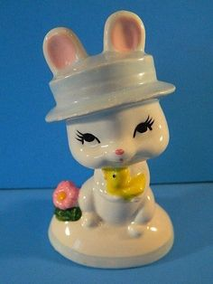 "Vintage Easter decoration 1960s N ORLEANS BUNNY w CHICK ceramic KOREA 4"" tall"