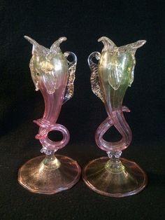 Rare c.1920 SALVIATI Italian MURANO Venetian Art Glass DOLPHIN CANDLESTICKS in Pottery & Glass, Glass, Art Glass, Italian | eBay