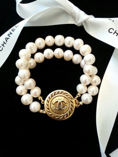 Authentic Chanel Button & Double Strand Fresh Water 10 MM Pearl Bracelet : DesignsbyZ - etsy