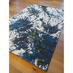 Tapis abstrait bleu, vert et beige Lugano - Astra.