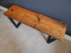 Salvaged Wood Bench with Modern Steel Legs by MidwestSalvageStudio