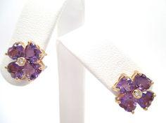 1.63CT Fine Clover Style Heart Shape Amethyst and Round Diamond Earrings 14K YG  #Handmade #Stud