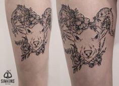 goat tattoo, black tattoo, flowers, flower tattoo