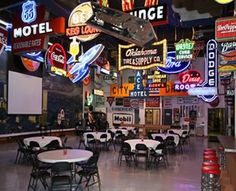Stokely Event Center in Tulsa. The company that used to make all Tulsa's neon signs and billboards in the 1950s now serves as a 50s themed event center with enough leftover and refurbished signs to give it that amazing classic Route 66 glow.