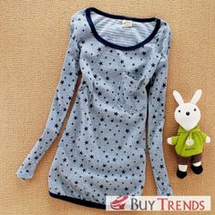 Stars Printed Women's Fashion Long Sleeve T-Shirt on BuyTrends.com, only price $10.42