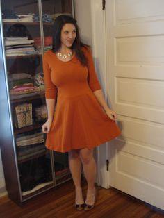 Burnt orange Lady Skater from Beth Stitches Tiger Print, Burnt Orange, Formal Wear, Skater Dress, Knit Crochet, Fashion Dresses, High Neck Dress, Lady, Stitches