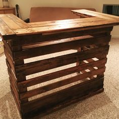 Gorgeous Pallet Bar built from 100% pallet wood, by Angry Wood Design. Visit their Facebook page at https://www.facebook.com/angrywooddesign/ to see more of their cool pieces!