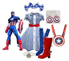 """Captain America Lolita"" by meiki ❤ liked on Polyvore featuring Retrò, Shield, comic books, lolita, captain america, lolita fashion and superhero"