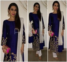 Karisma Kapoor was in Pune earlier this evening to attend the Pune Festival. The actress looked lovely in a rich blue and gold embroidered kurta and white pants set by designer Shruti Sheth. She