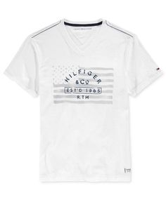 Tommy Hilfiger Men's Thunder Boost Graphic-Print V-Neck T-Shirt My T Shirt, V Neck T Shirt, Graphic Prints, Graphic Tees, Polo T Shirts, Men's Apparel, Tshirts Online, Mens Tees, Shirt Ideas