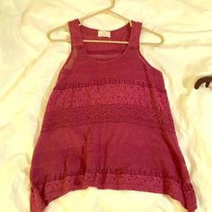 Urban outfitters lace maroon tank top This unique piece is a beautiful maroon/burgundy color. It's well made and detailed. Size small.  Warning: not tons of room in chest area. Make me an offer! BUNDLE for more discounts! Urban Outfitters Tops Tank Tops