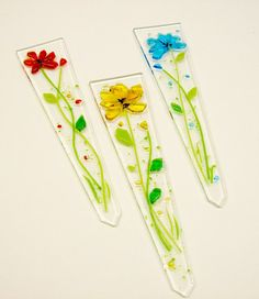 Fused Glass Plant Stakes and Garden Stakes Flower by CDChilds, $22.00