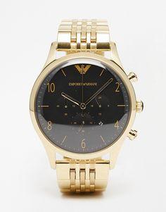 Armbanduhr von Emporio Armani Armband aus Edelstahl Gehäuse aus rostfreiem Silber drei Zeiger Chronographendesign mit Unteranzeigen Datumsanzeige Verschiedene Stundenmarkierungen Faltschließe 5 atm wasserdicht bis 50 Meter (160 Fuß)
