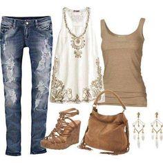 combinación remera y pantalón (azul-blanco-marrón)