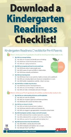 Download a FREE Kindergarten Readiness Checklist! Prek graduation. Prepare for kindergarten.