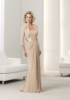 Chiffon A-line 3/4 Length Sleeves Sash Empire Mother of the Bride Dress picture 1
