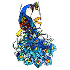 Chloe Tiffany Style Peacock Design Window Panel/Suncatcher