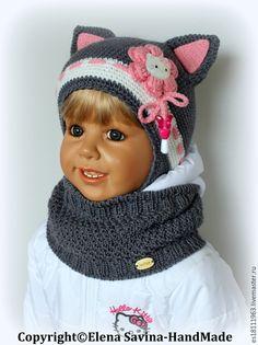 """Котёнок"" (шапочка+снуд) -  серый, шапочка, вязаная шапочка, шапочка крючком…"
