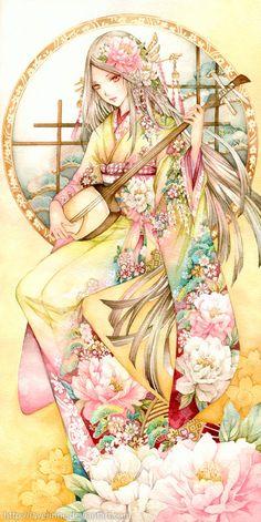 Hikaru and Ashra by laverinne on DeviantArt Geisha Art, Geisha Anime, Anime Kimono, Manga Anime Girl, Comic Drawing, Anime Princess, Image Manga, Beautiful Anime Girl, Yukata