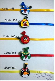 Paper Quilled Angry Bird Rakhi for Kids Whatsapp at +919820465566