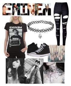 """""""Eminem Tee"""" by magick-bean ❤ liked on Polyvore featuring WithChic and Converse"""