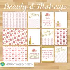 Beauty & Makeup Journaling Cards, Project Life Inspired Printable JPEG, Simple Stories, Digital Scrapbooking, Instant Download, lipstick, perfume,