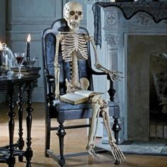 35 Ghosts, Skeletons And Skulls For Halloween Decoration | Shelterness - POSABLE SKELETON IN A CHAIR