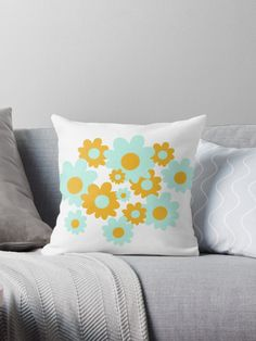 """Cheerful Flowers 6 in Mustard Yellow and Mint Aqua Teal on White. Cute Minimalist Floral Pattern"" Throw Pillow by kierkegaard 