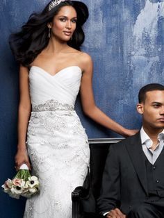 Slim Fitting Wedding Dress - Kenneth Pool $7,995. This is my dream dress and my flowers!
