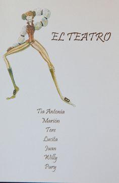 "Boda Temática ""Arte"".  Mesero dedicado al Teatro. Acuarela de Angélica Ciceronia."