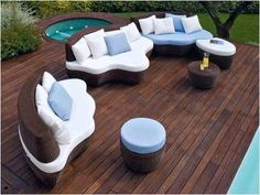 Modern outdoor furniture - Interior and exterior decoration - Decor Scan : The new way of thinking about your home and interior design Modern Garden Furniture, Pool Furniture, Outdoor Furniture Sets, Outdoor Decor, Outdoor Seating, Outdoor Living, Party Outdoor, Wicker Furniture, House Furniture