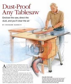 Table Saws Table Saw Dust Collection - Dust Collection Table Saw Woodworking Table Saw, Woodworking Power Tools, Woodworking Saws, Woodworking Patterns, Woodworking Workshop, Woodworking Projects, Carpentry, Popular Woodworking, Woodworking Furniture