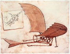 Early Aviation Inspiration-Leonardo da Vinci design for a flying machine - Early Aviation Table Place Card Art