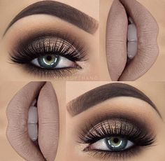 Smoky eye and nude lips