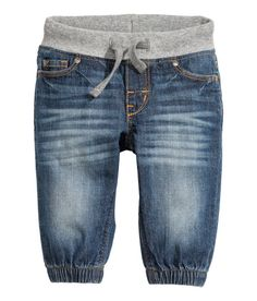 Check this out! Pull-on jeans in soft, washed denim. Ribbing and drawstring at waist, front pockets, coin pocket, and back pockets, and mock fly. Elasticized hems. - Visit hm.com to see more.