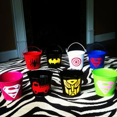 Items similar to Superhero Party Favor Buckets filled with Individually Wrapped Superhero Cookies on Etsy