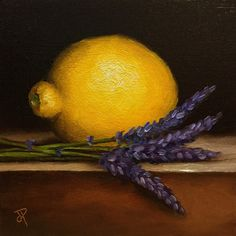 Lemon with Lavender Original Oil Painting still by JanePalmerArt