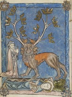 "Brother Lawrence Sum King. Sum of vices and virtues, ""Beast of the Apocalypse"", Librairie du Louvre, Français 938, f. 8v. Laurent d'Orléans. La Somme le Roi (1294)."