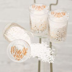 Gold Foil Confetti Small Glass Favor Jar - Shop on WeddingWire! Food Wedding Favors, Vintage Wedding Favors, Creative Wedding Favors, Inexpensive Wedding Favors, Wedding Cups, Wedding Favor Boxes, Wedding Favors For Guests, Wedding Reception, Wedding Centerpieces