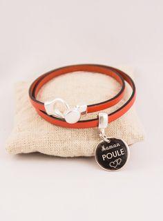 Bracelet Cuir 2 Tours médaille acier gravée personnalisable